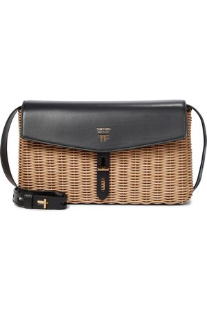 Tom Ford T Twist wicker and leather shoulder bag