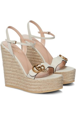 Gucci Double GG leather espadrille wedge sandals