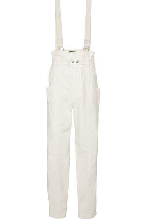 Isabel Marant Women Wide Leg Pants - Ekla linen and cotton suspender pants