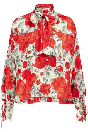 Ganni Floral stretch-silk turtleneck blouse