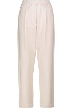 Brunello Cucinelli Women Pants - High-rise straight cotton-blend jersey pants