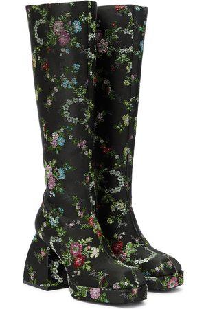 NODALETO Bulla Harumi floral knee-high boots