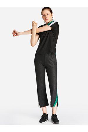 YOINS Women Sports Shorts - Side Pockets Stripe Short Sleeves Slit 2-piece Tracksuit