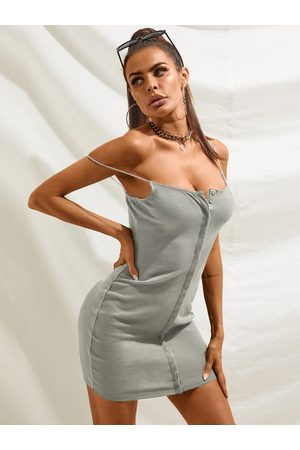 YOINS Women Knitted Dresses - Knit Front Button Spaghetti Strap Sleeveless Dress