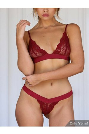YOINS Sexy Lace Lingeries Set in Burgundy