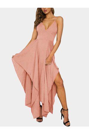YOINS Sexy V-neck & Asymmetrical Maxi Dress in -pink