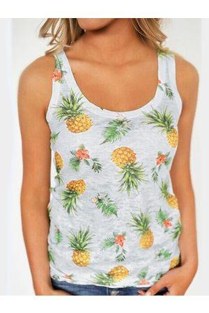 YOINS Pineapple Printed Scoop Neck Camis