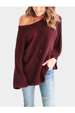 YOINS Casual Knitted Loose Round Neck Top in Red