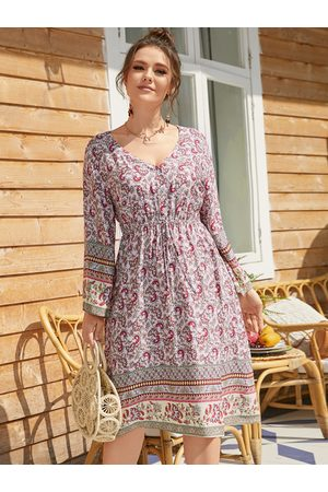 YOINS Plus Size V-neck Paisley Drawstring Long Sleeves Midi Dress
