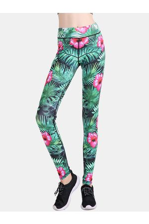 YOINS Active Random Floral Print Quick Drying Yoga Leggings in Green
