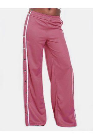 YOINS Active High Side Slit Rivet Design Wide Leg Sport High Waist Pants in