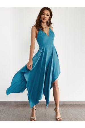 YOINS Sexy V-neck & Asymmetrical Maxi Dress in Turquoise