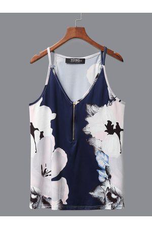 YOINS Dark Blue Random Print V-neck Cami with Zipper Design