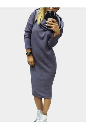 YOINS Long Sleeves Hooded Midi Jumper Dress