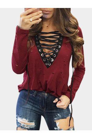 YOINS V-neck Plunge Lace-up Front Hollow Design T-shirt