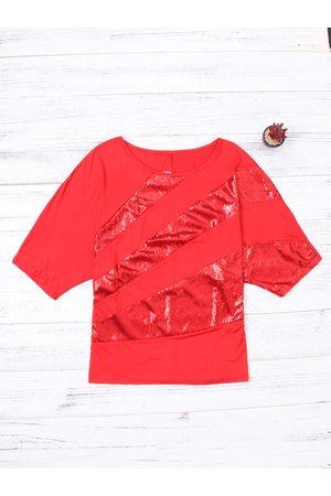 YOINS Paillette Decoration Scoop Neck Short Bat Sleeves T-shirt