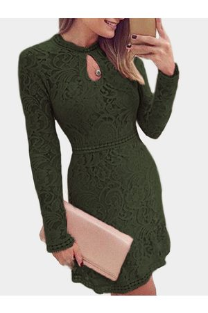 YOINS Lace Crew Neck Long Sleeves Dress