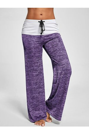 YOINS Active Wide Leg Stretch Waistband Pants With Stitching Design in
