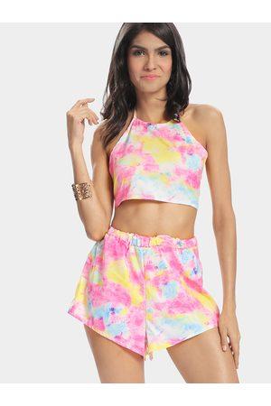 YOINS Rainbow Printing Halter Cropped Top & Mini Skirt Co-ord