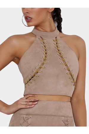 YOINS Keyhole Lace-up Design Halter Sexy Camis