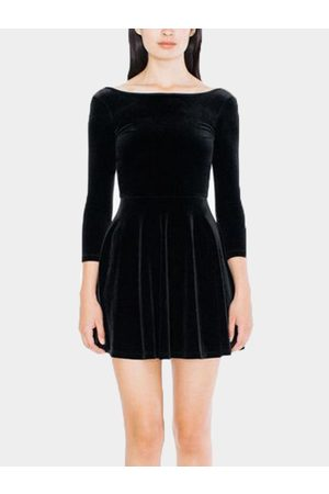 YOINS Backless Design Round Neck Long Sleeves Flounce Swing Dress