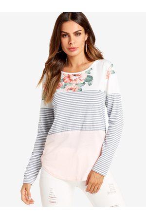 YOINS Floral Stripe Round Neck Long Sleeves T-shirt