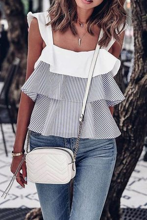 YOINS And White Stripe Flouncy Details Top