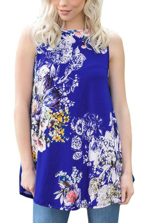 YOINS Casual Round Neck Pleated Hem Floral Print Top