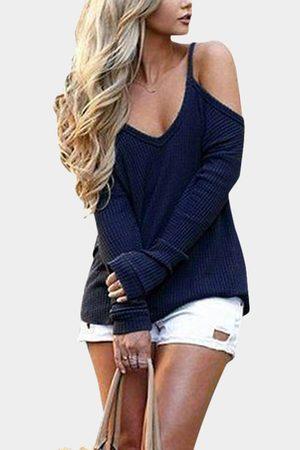 YOINS Casual Thin Shoulder Cold Shoulder Long Sleeve T-shirt