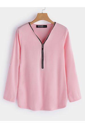 YOINS Women Long Sleeve - Zip Design V-neck Long Sleeves T-shirts