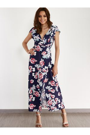 YOINS Random Floral Print Slit Design Maxi Dress