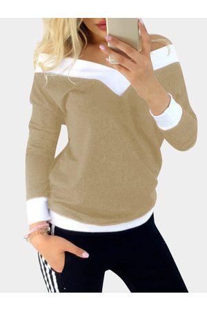 YOINS Stitching Details Off Shoulder V-neck Long Sleeves Casual T-shirt