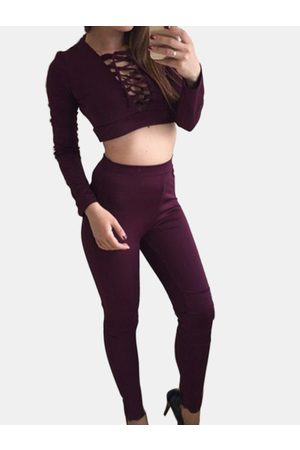 YOINS Active V-neck Lace-up Design Silk Material Tracksuit in
