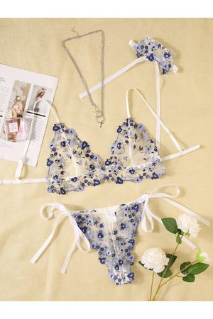 YOINS Calico Embroidery Backless See through design Lingerie set