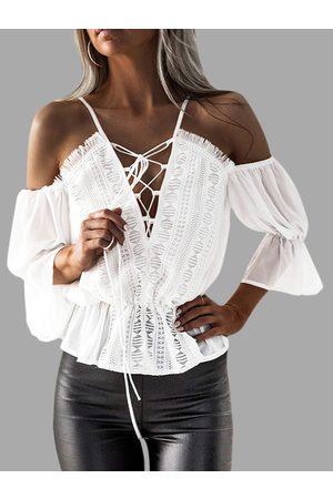 YOINS Women Blouses - Lace-up Details Cold Shoulder Tight Waist Blouses