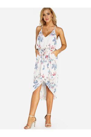 YOINS White Random Floral Print Sleeveless Irregular Hem Dress