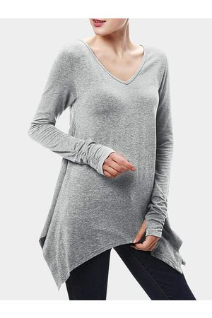 YOINS Women Long Sleeve - Irregular Hem Pleated Design Long Tee