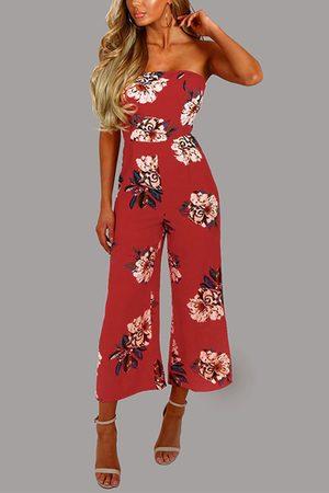 YOINS Random Floral Print Strapless Jumpsuit in