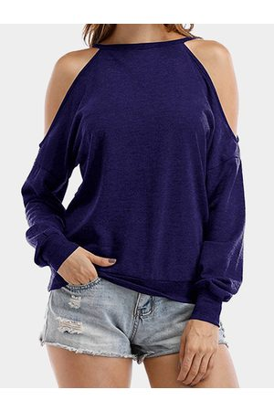 YOINS Cut Out Cold Shoulder Round Neck Long Sleeves Loose T-shirt