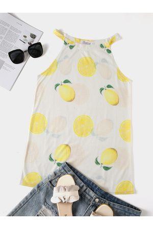YOINS Lemon Print Halter Sleeveless Cami