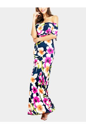 YOINS Off Shoulder Random Floral Fishtail Tiered Design Dress