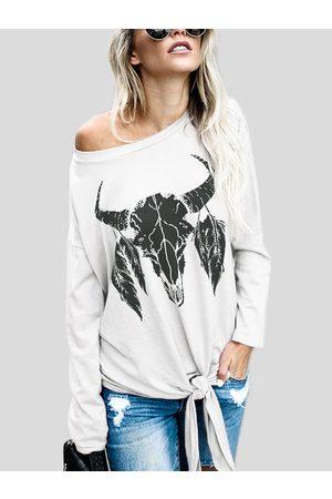 YOINS White Cow Pattern Long Sleeves Tie Hem Fashion T-shirt