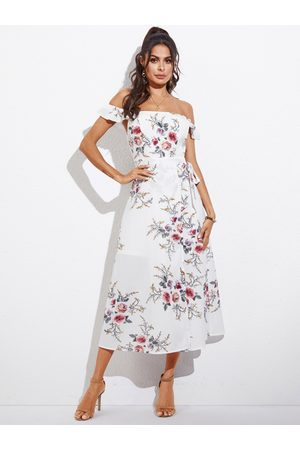 YOINS Women Printed Dresses - Random Floral Belted Split Design Off-the-Shoulder Dress