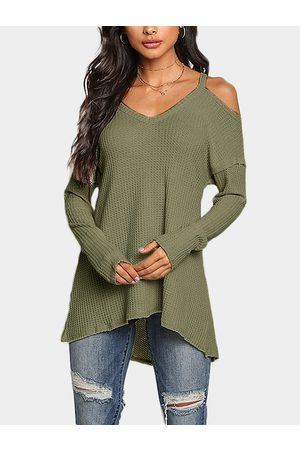 YOINS Light Cold Shoulder Long Sleeves Knitted Top