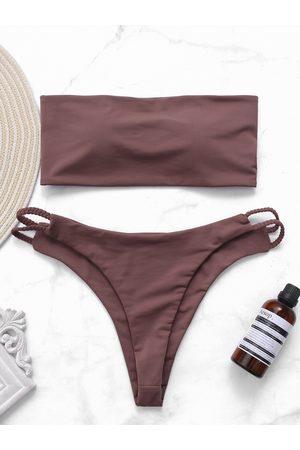 YOINS Dusty Rose Crop Top & Bottoms Swimwears Suit