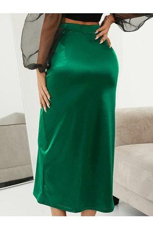 YOINS Women Midi Skirts - Lace-up design Slit Hem Midi Skirt