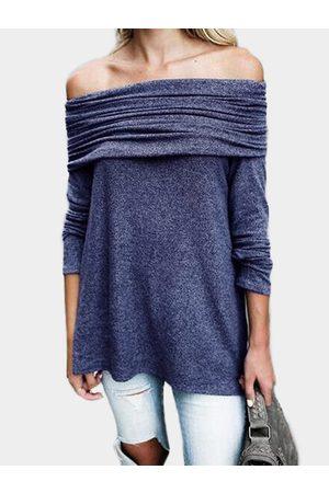 YOINS Women Long Sleeve - Flap Over Detail Off Shoulder Irregular Hem T-shirt