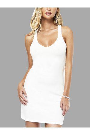 YOINS Halter V-neck Strappy design Mini Dress