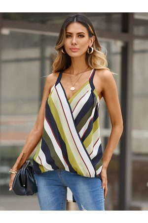 YOINS Women Halterneck Tops - Wrap Design Striped Halter Sleeveless Cami