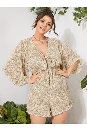 YOINS Plus Size V-neck Calico Elastic Strap Half Sleeves Playsuit